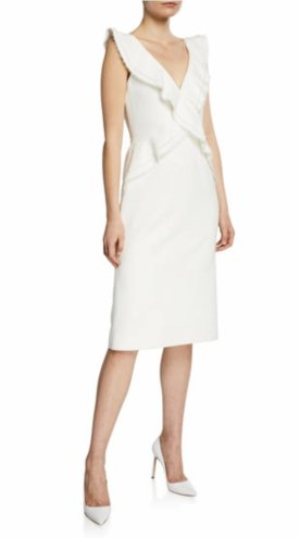 Jason Wu Compat Crepe V Neck Sleeveless Ruffle Trim Dress