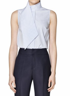 Suistudio Dorian Wrap Collar Sleeveless Cotton Shirt