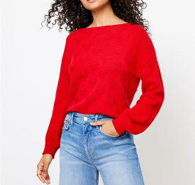 Loft Red Heart Sweater $35