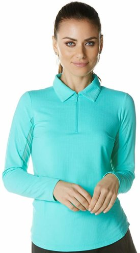 IBKUL Women's Sun Protective UPF 50+ Cooling Long Sleeve Polo Shirt $88