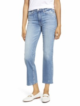 Paige Atley High Waist Raw Hem Crop Flare Jeans $235.00