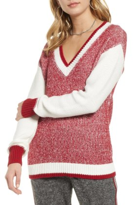 marled v neck sweater