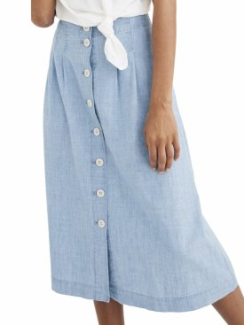 Madewell Chambray Patio Button Front Midi Skirt $88.00