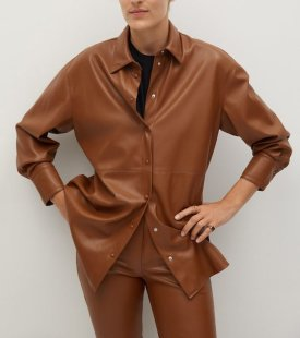 Mango Faux Leather Shirt $79.99