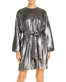 Anine Bing Angie Balloon-Sleeve Matte Sequin Dress