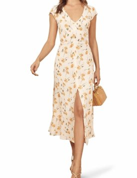 Reformation Floral Wellfleet Back Cutout Dress $218.00