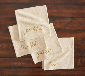 Thanksgiving Embroidered Napkins $28