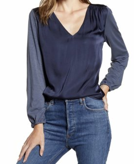 Velvet By Graham Spencer Slub Satin Top $147.00