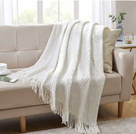 Bourina Blanket Textured Decorative Knitted $19.99