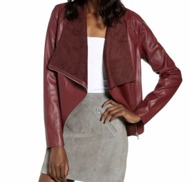 BlankNYC Onto The Next Faux Leather Drape Front Jacket $88.00