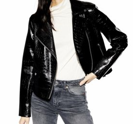TopShop Croc Embossed Faux Leather Jacket $49.99