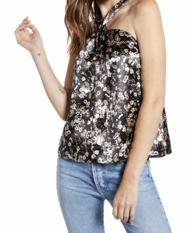 Rebecca Minkoff Winnie Floral Satin Halter Top $148.00