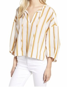 Lou Grey Stripe Tie Neck Top $69.50