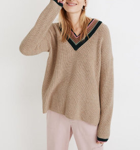Tipped V-Neck Sweater $34.99