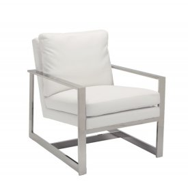 Lounge Chair in White Leatherette