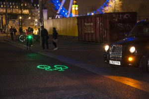 Bicycle fitted with Blaze Laserlight entering an intersection