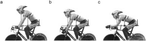 Cyclist shown in each position from the side