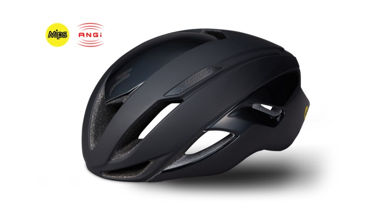 Specialized S-Works Evade helmet with ANGi to call for help, side view of a black helmet