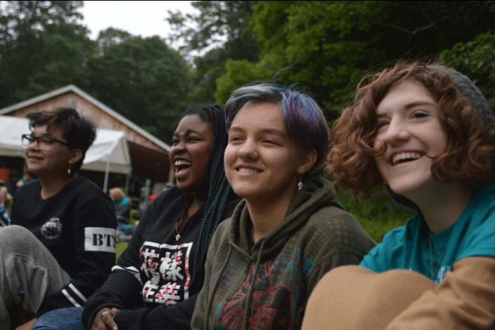 girls smiling at summer camp