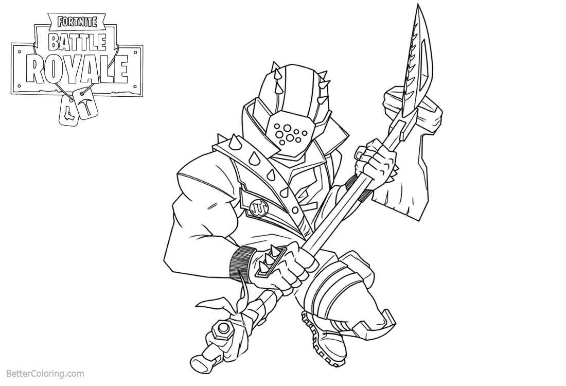 Characters from Fortnite Coloring Pages Black and White