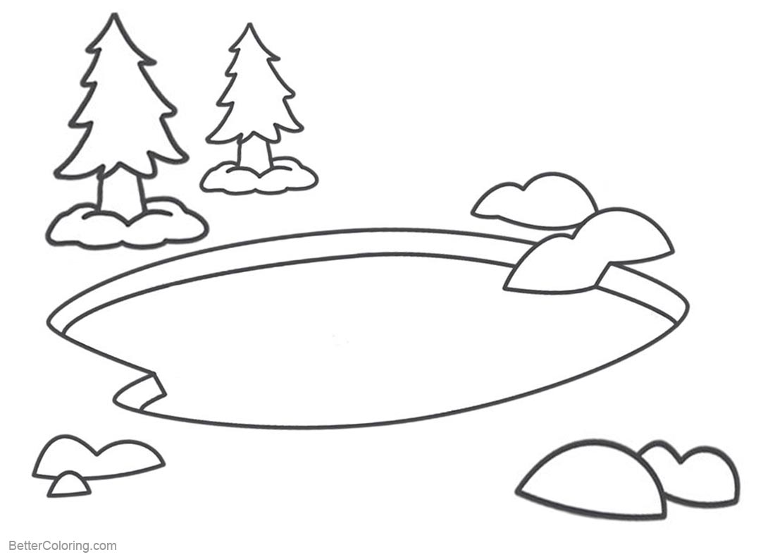 Printable Coloring Page Of A Pond With Out Fish