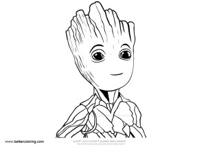 groot coloring easy drawing pages printable adults sketch template