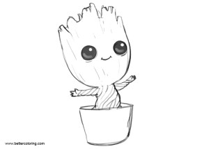 groot easy coloring pages printable adults sketch template