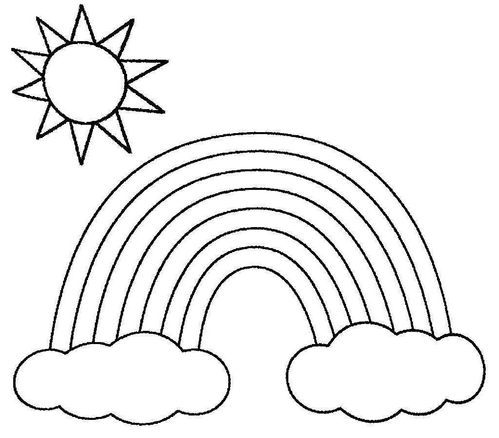 Rainbow Clouds Coloring Page How To Draw A Rainbow And Clouds Easy