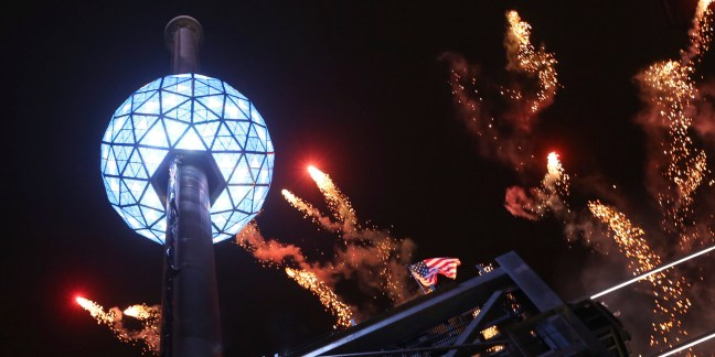 The fireworks explode as the Waterford crystal ball is raised at the beginning of Times Square New Year's celebration, Monday, Dec. 31, 2012 in New York. (AP Photo/Mary Altaffer)