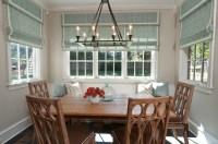anna baskin roman shades trim blue dining room