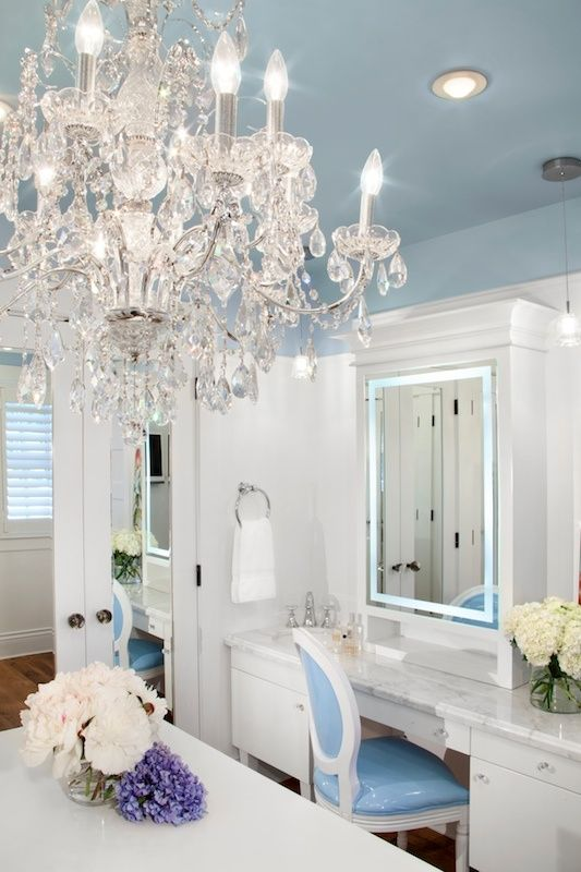 Chandelier Baby Blue Closet Vanity Mirror Ceiling Marie Chair Louis Xvi White Decorating