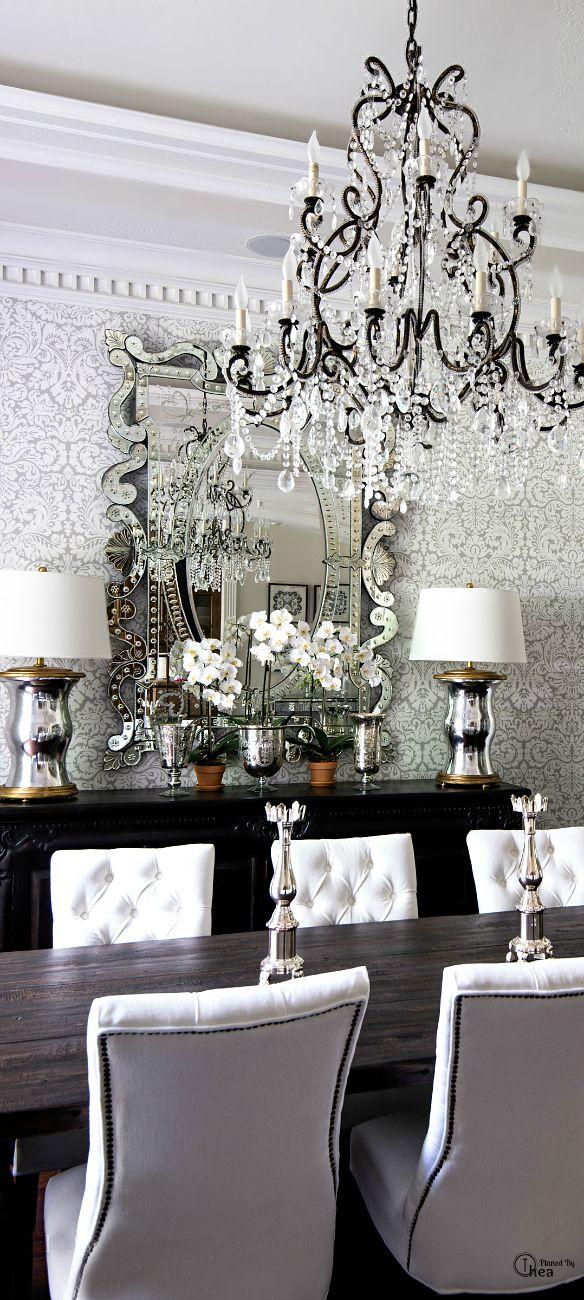 dining room chandelier damask wallpaper decorating white