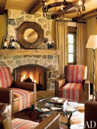 rustic decor cowboy western style living room stone ...