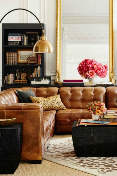 leather living room with sectional ideas Tanned Leather Sofas are the Hottest Decorating Trend of