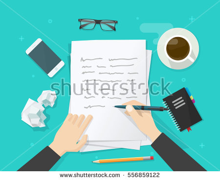 stock-vector-writer-writing-on-paper-sheet-vector-illustration-flat-cartoon-person-hands-with-pen-on-working-556859122