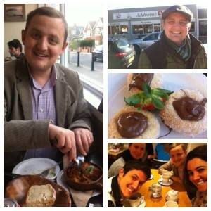 Collage: eating at Addommé and coffee with ex-lodgers