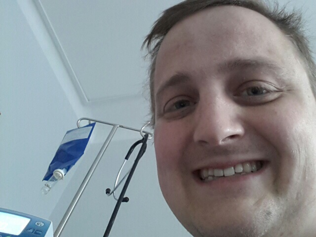 George, with his chemo hanging from a drip stand behind him