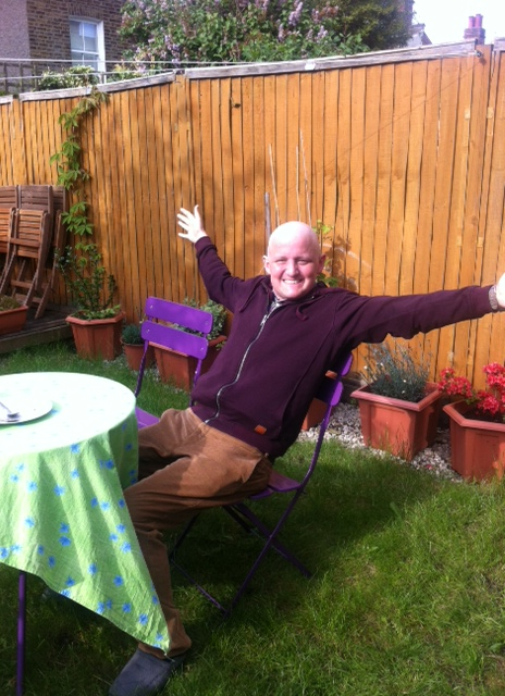 Bald George in the garden