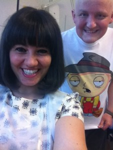 Mariacristina with new haircut and dress, George with Stewie t-shirt