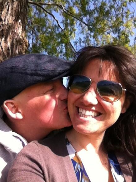 George kissing Mariacristina under a Streatham Common tree