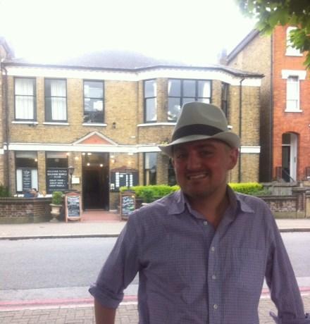 George outside a Balham pub