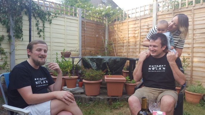 George with Tim, Cassie and Aldous in the garden