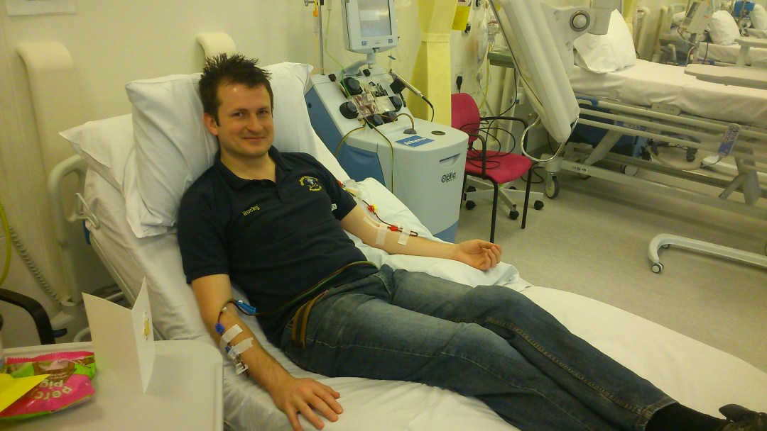 Tim hooked up to apheresis machine