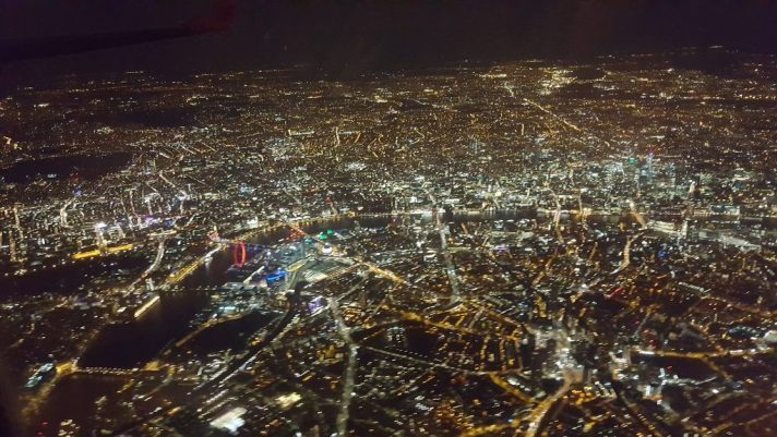 London by night, from an aircraft window