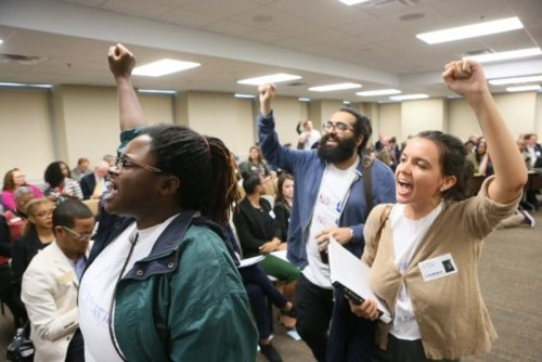 Students and faculty protest Olens' appointment at the Board of Regents. (Photo credit: AJC)