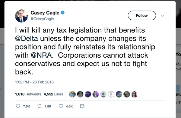 Screenshot of Casey Cagle's tweet in support of the NRA