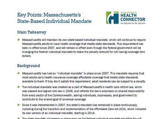 Individual Mandate Key Points Thumbnail preview of document