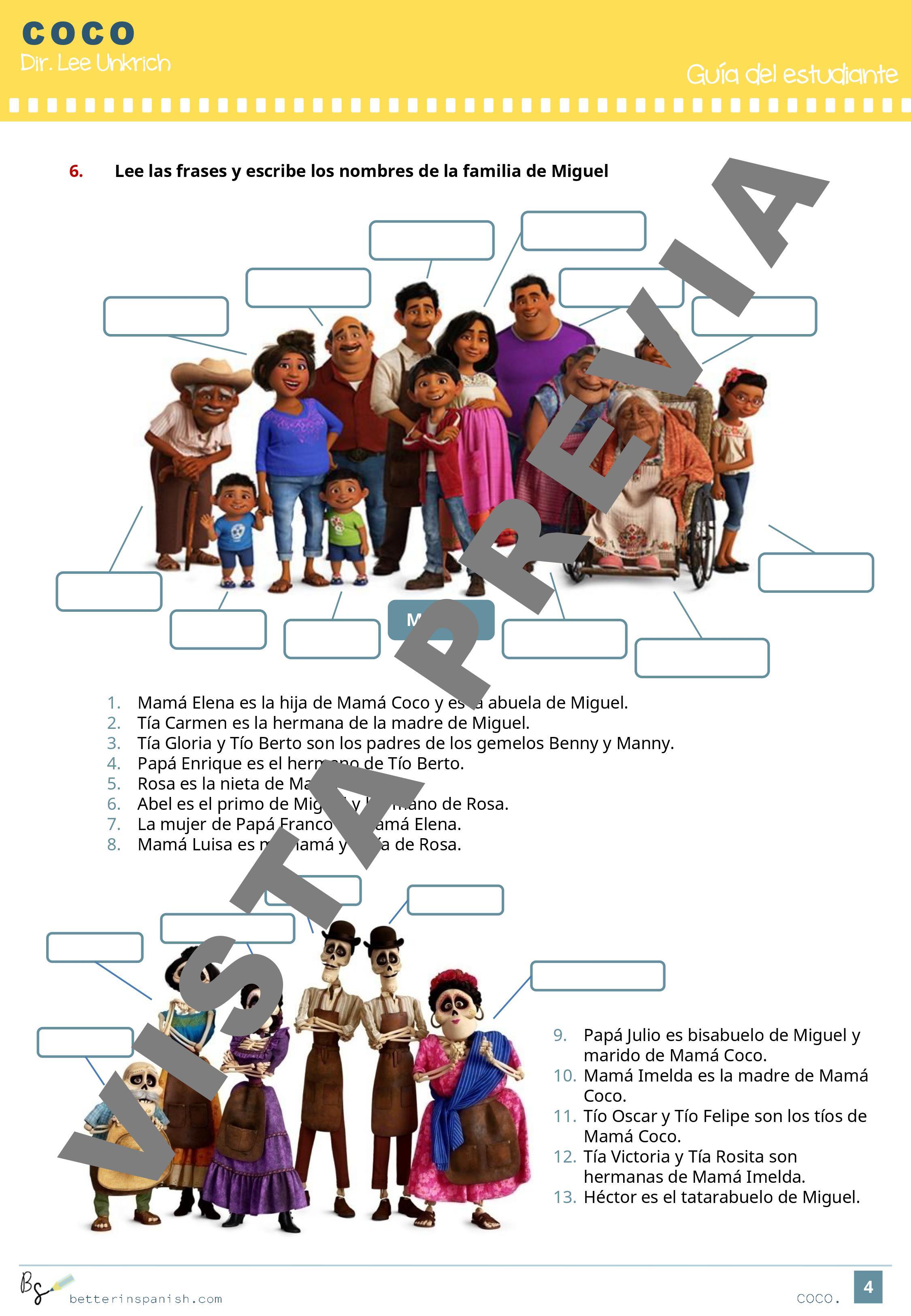 Actividades Pedagogicas Basadas En La Pelicula Coco