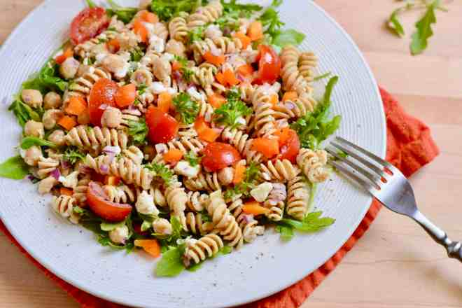 Plate of Pasta Salad with Cottage Cheese and Chickpeas.