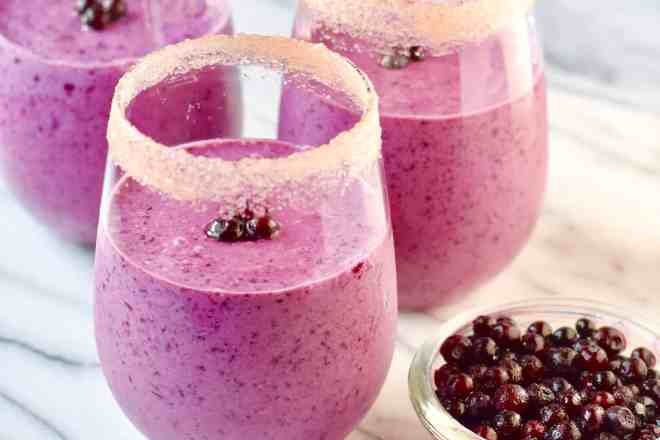 Double Berry Smoothie is made with wild blueberries and dairy milk and yogurt.